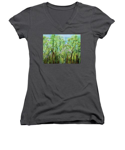 Spring Arpeggio Women's V-Neck T-Shirt (Junior Cut) by Regina Valluzzi