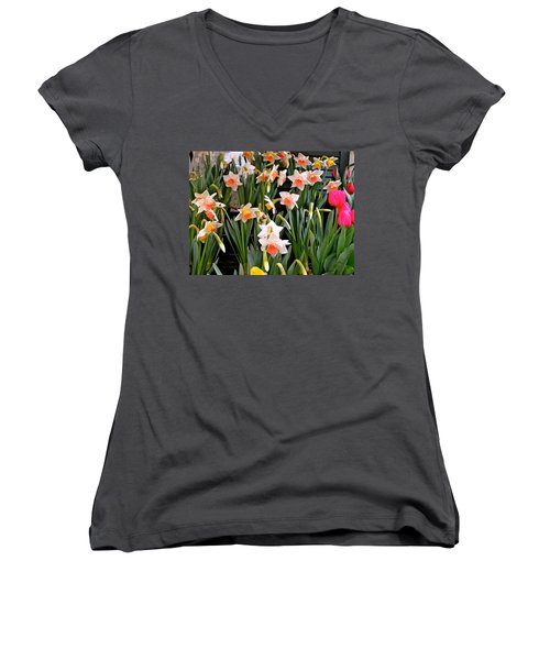 Women's V-Neck T-Shirt (Junior Cut) featuring the photograph Spring Daffodils by Ira Shander