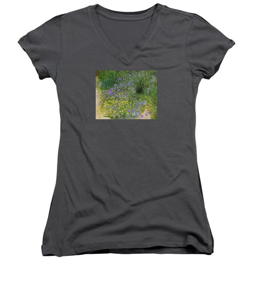Spring Fling Women's V-Neck T-Shirt (Junior Cut) by Donna  Manaraze