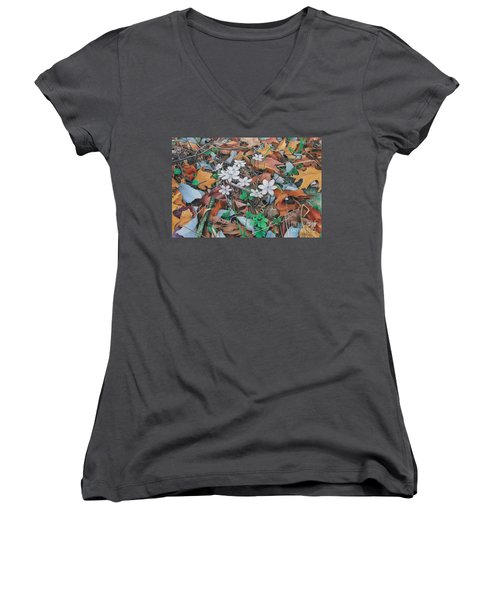 Spring Forward Women's V-Neck T-Shirt (Junior Cut) by Pamela Clements