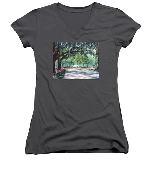 Spring In Forsythe Park Women's V-Neck T-Shirt