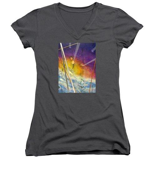 Spring Is Sprung Women's V-Neck T-Shirt (Junior Cut) by Jack Malloch