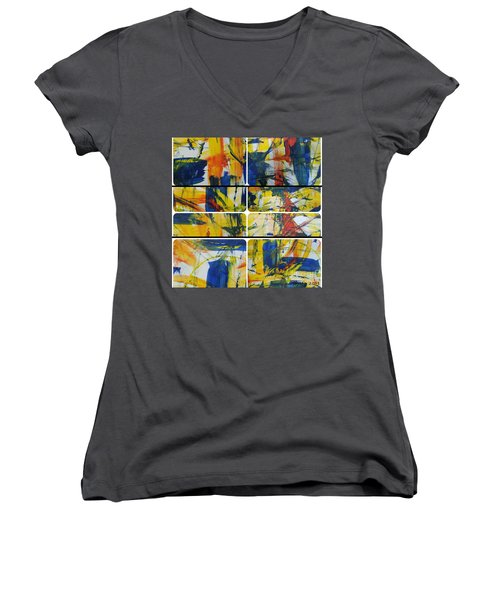Women's V-Neck T-Shirt (Junior Cut) featuring the painting Spring Part One by Sir Josef - Social Critic - ART