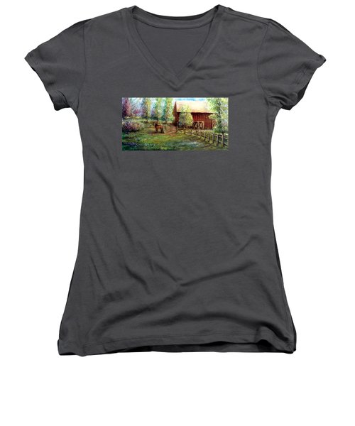Women's V-Neck T-Shirt (Junior Cut) featuring the painting Springborn Horse Farm by Bernadette Krupa