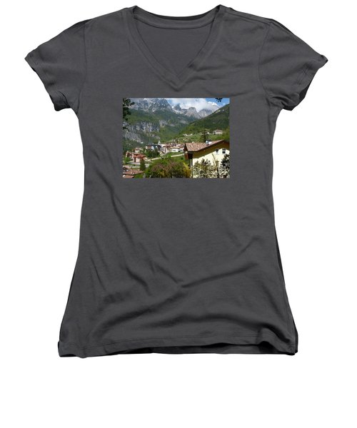 Women's V-Neck T-Shirt (Junior Cut) featuring the photograph Springtime In Molveno - Italy by Phil Banks