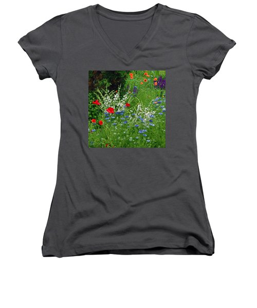 Women's V-Neck featuring the photograph Squarely Spring Floral Garden by Byron Varvarigos