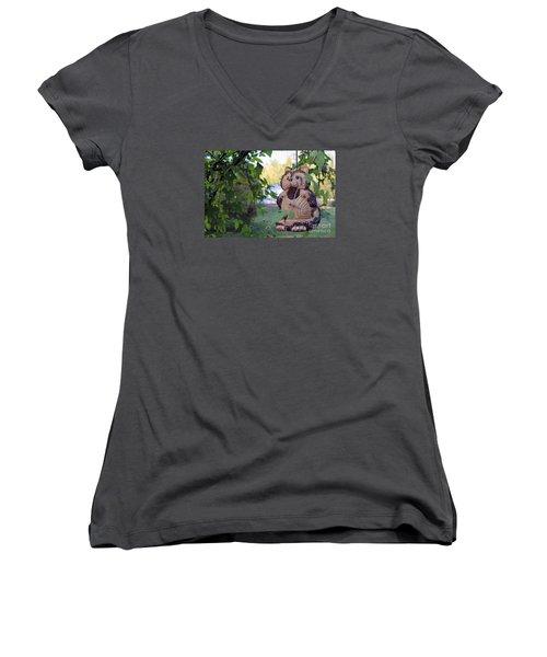 Squirrel Bird Feeder Women's V-Neck T-Shirt