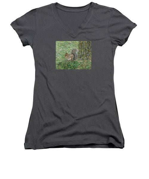 Squirrel Women's V-Neck T-Shirt (Junior Cut) by Lucinda V VanVleck
