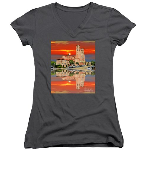 St Anne Church Of The Sunset In San Francisco With A Reflection  Women's V-Neck T-Shirt (Junior Cut) by Jim Fitzpatrick