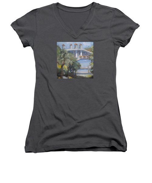 St Augustine Bridge Of Lions Women's V-Neck T-Shirt (Junior Cut) by Mary Hubley