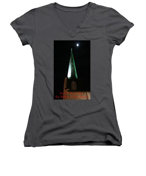 St. Augustine Moon Christmas Card Women's V-Neck (Athletic Fit)