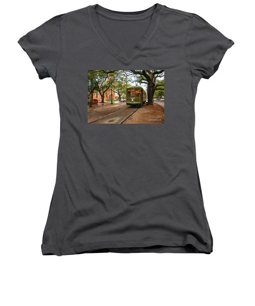 St. Charles Ave. Streetcar In New Orleans Women's V-Neck T-Shirt (Junior Cut) by Kathleen K Parker