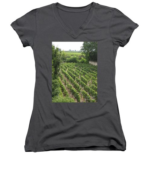 Women's V-Neck T-Shirt (Junior Cut) featuring the photograph St. Emilion Vineyard by HEVi FineArt