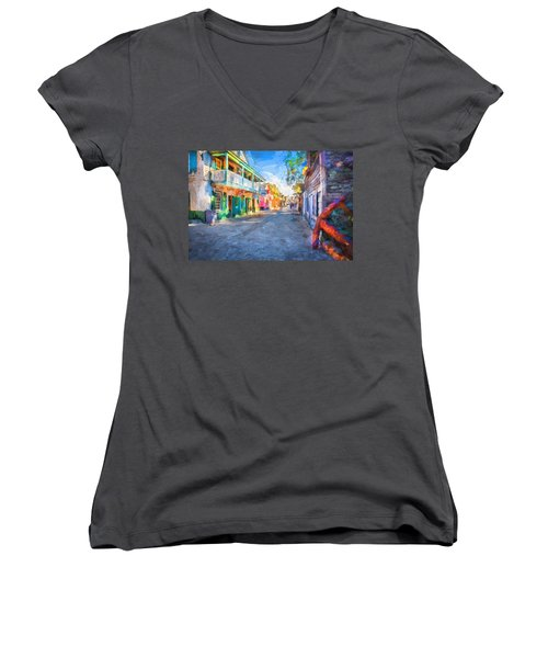 St George Street St Augustine Florida Painted Women's V-Neck (Athletic Fit)