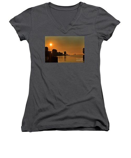 St Joseph Lighthouse Sunset Women's V-Neck (Athletic Fit)