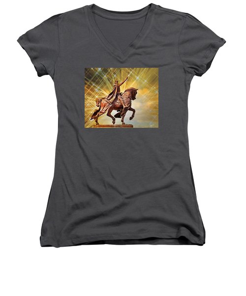 Women's V-Neck T-Shirt (Junior Cut) featuring the photograph St. Louis 5 by Marty Koch