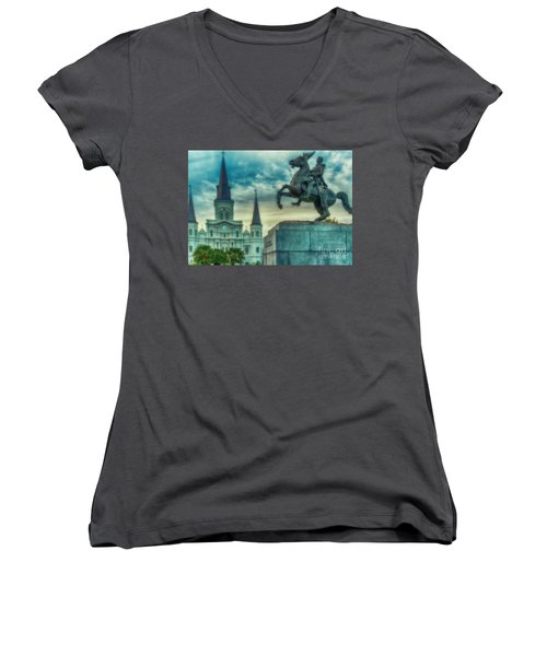 St. Louis Cathedral And Andrew Jackson- Artistic Women's V-Neck (Athletic Fit)