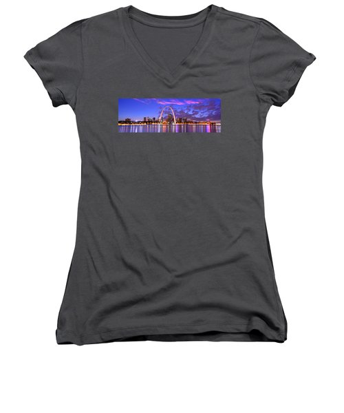 Women's V-Neck T-Shirt (Junior Cut) featuring the photograph St. Louis Skyline At Dusk Gateway Arch Color Panorama Missouri by Jon Holiday