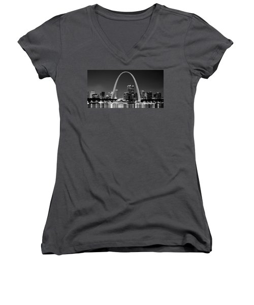 Women's V-Neck T-Shirt (Junior Cut) featuring the photograph St. Louis Skyline At Night Gateway Arch Black And White Bw Panorama Missouri by Jon Holiday