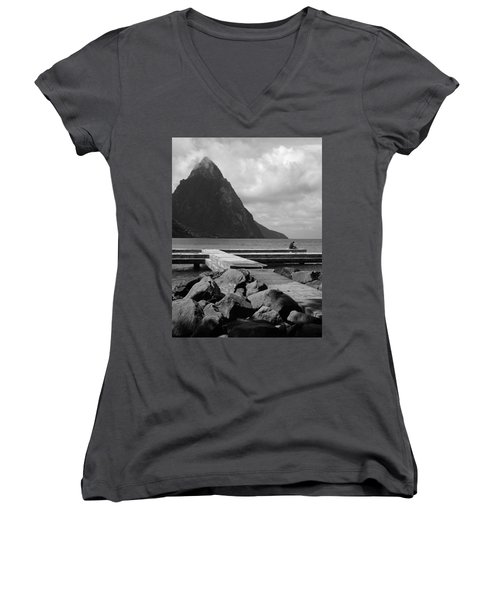 St Lucia Petite Piton 5 Women's V-Neck T-Shirt (Junior Cut) by Jeff Brunton