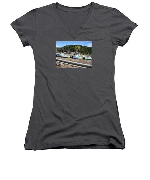 St-martin's Fishing Fleet Women's V-Neck T-Shirt (Junior Cut)