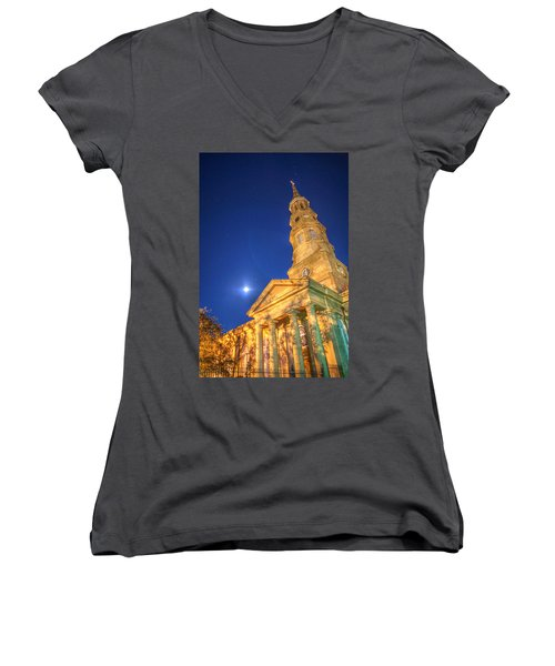 St. Phillip's At Night With Moon And Stars Women's V-Neck