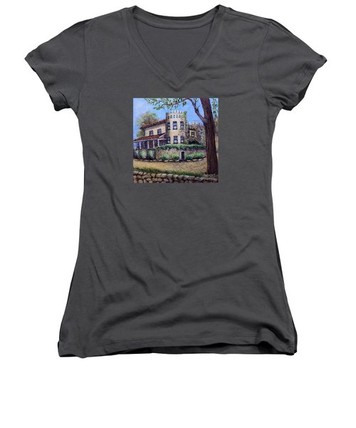 Stags' Leap Manor House Women's V-Neck T-Shirt (Junior Cut) by Rita Brown