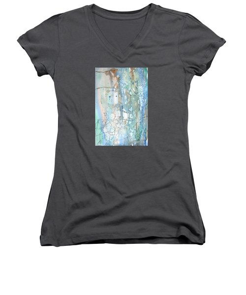 Women's V-Neck T-Shirt (Junior Cut) featuring the painting Stained Cracks by Rebecca Davis