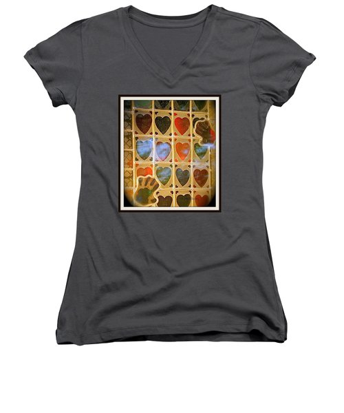 Women's V-Neck T-Shirt (Junior Cut) featuring the photograph Stained Glass Hands And Hearts by Kathy Barney
