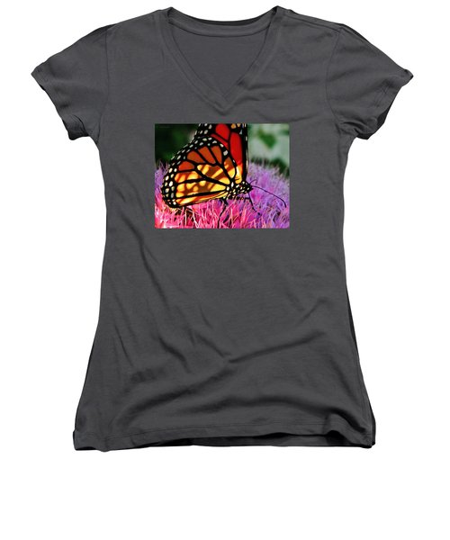 Stained Glass Monarch  Women's V-Neck T-Shirt