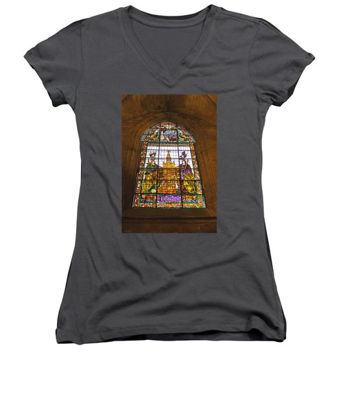 Stained Glass Window In Seville Cathedral Women's V-Neck T-Shirt (Junior Cut) by Tony Murtagh