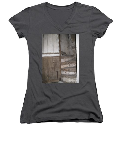 Women's V-Neck T-Shirt (Junior Cut) featuring the photograph Staircase by HEVi FineArt