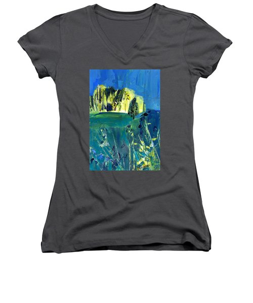Stand Of Trees In Distance Women's V-Neck (Athletic Fit)