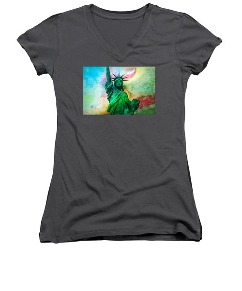 Stand Up For Your Dreams Women's V-Neck T-Shirt (Junior Cut) by Az Jackson