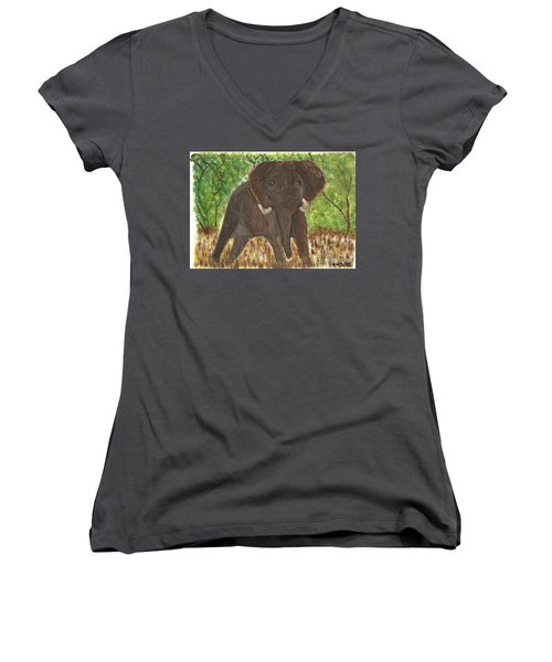 Women's V-Neck T-Shirt (Junior Cut) featuring the painting Standing My Ground by Tracey Williams