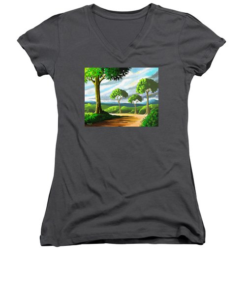 Women's V-Neck T-Shirt (Junior Cut) featuring the painting Standing Tall by Anthony Mwangi