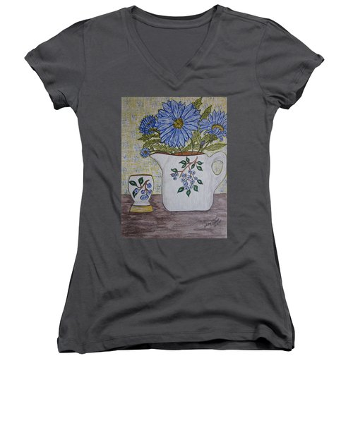 Women's V-Neck T-Shirt (Junior Cut) featuring the painting Stangl Blueberry Pottery by Kathy Marrs Chandler