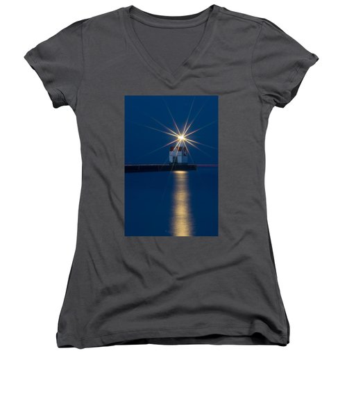 Star Bright Women's V-Neck T-Shirt (Junior Cut) by Bill Pevlor