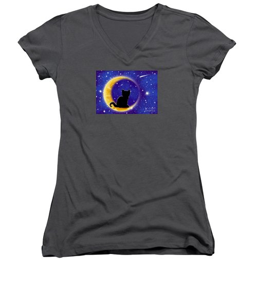 Star Gazing Cat Women's V-Neck T-Shirt