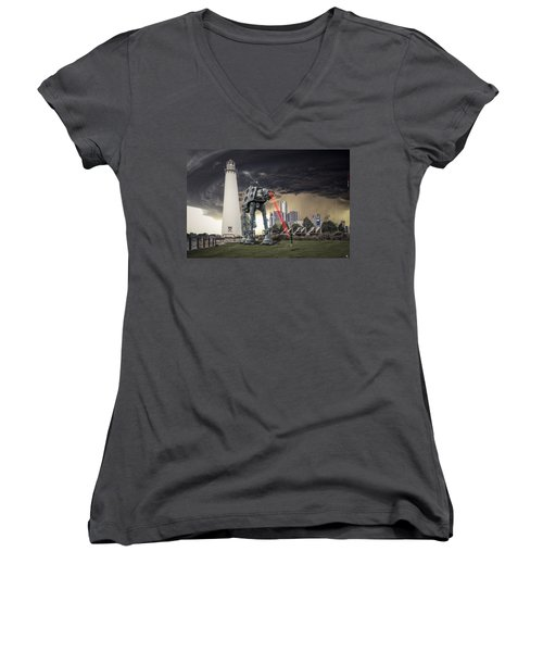 Women's V-Neck T-Shirt (Junior Cut) featuring the photograph Star Wars All Terrain Armored Transport by Nicholas  Grunas