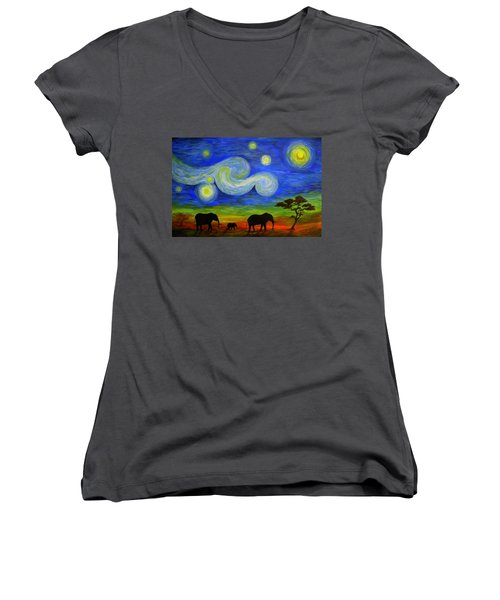 Starry Night Over Africa Women's V-Neck (Athletic Fit)
