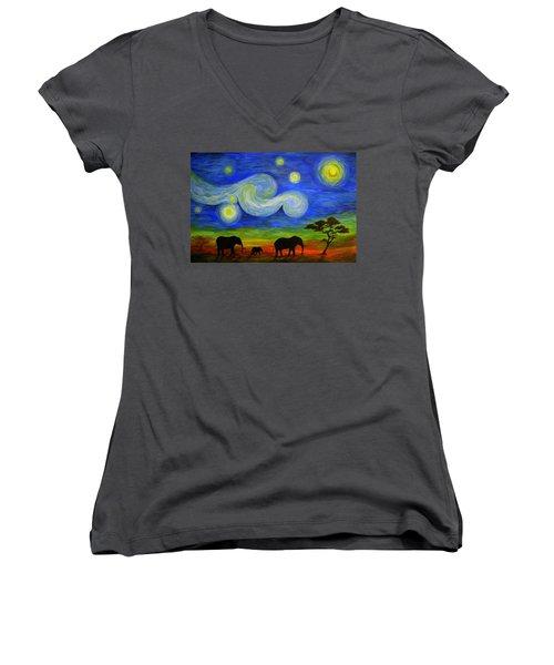 Starry Night Over Africa Women's V-Neck T-Shirt