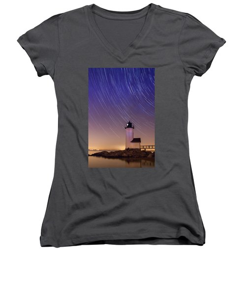 Women's V-Neck T-Shirt (Junior Cut) featuring the photograph Stars Trailing Over Lighthouse by Jeff Folger