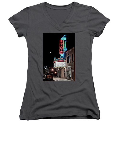 Women's V-Neck featuring the photograph State Theater by Jim Thompson