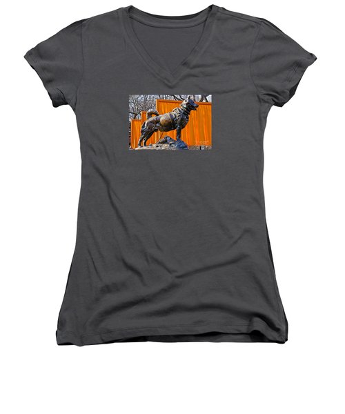 Statue Of Balto In Nyc Central Park Women's V-Neck T-Shirt (Junior Cut) by Anthony Sacco