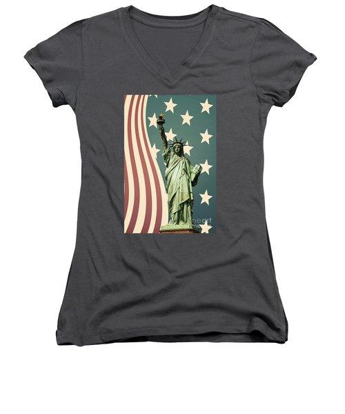 Statue Of Liberty Women's V-Neck