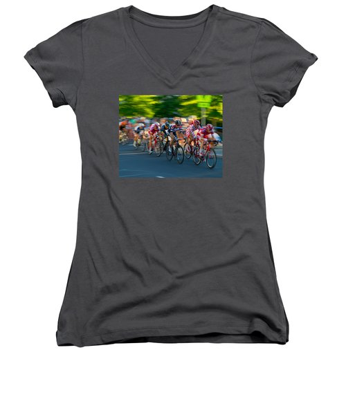 Stay Focused Women's V-Neck T-Shirt (Junior Cut) by Kevin Desrosiers