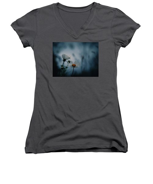 Women's V-Neck T-Shirt (Junior Cut) featuring the photograph Stay With Me A While by Rachel Mirror
