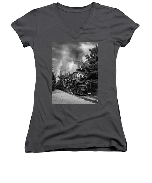 Women's V-Neck featuring the photograph Steam On The Rails by Dale Kincaid
