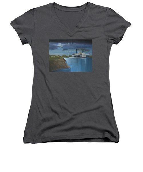 Steamboat On The Mississippi Women's V-Neck T-Shirt